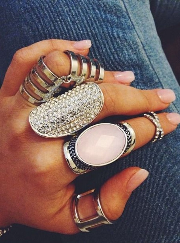 jewels ring ring boho boho jewelry statement ring knuckle ring silver silver ring pink ring set silver jewelry