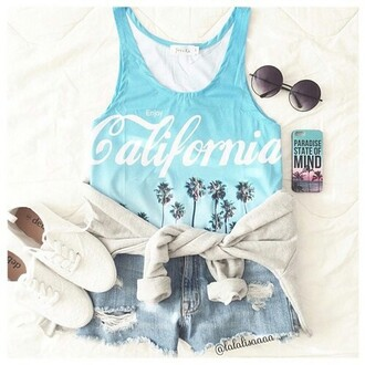 sunglasses shoes jeans california phone cover round sunglasses top ombre palm tree blue bleu palm tree print t-shirt cool girl style cute outfits outfit jacket asap