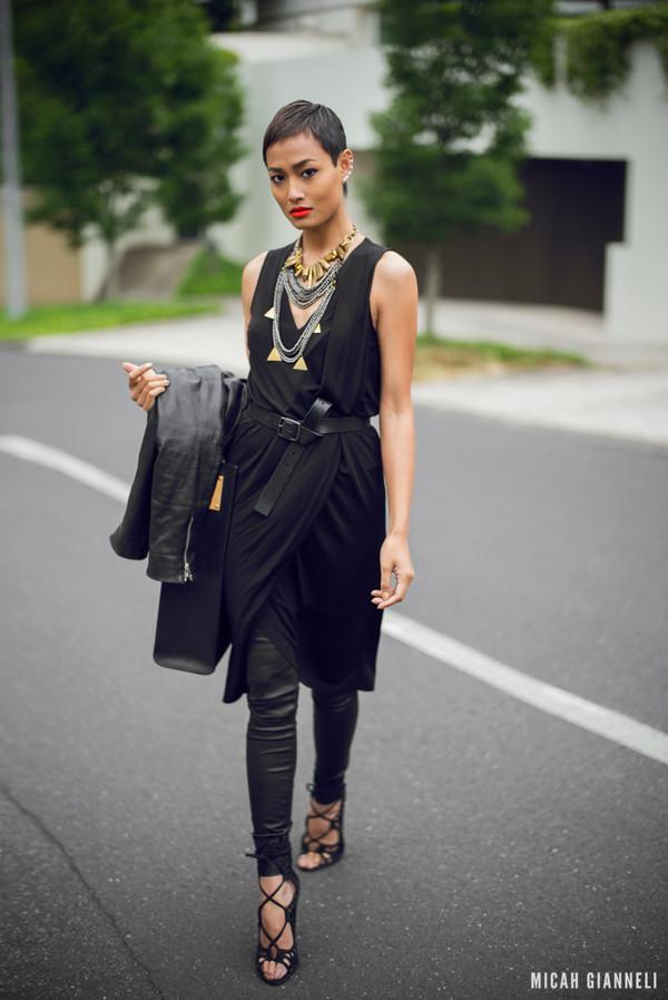 micah gianneli dress jacket pants bag shoes