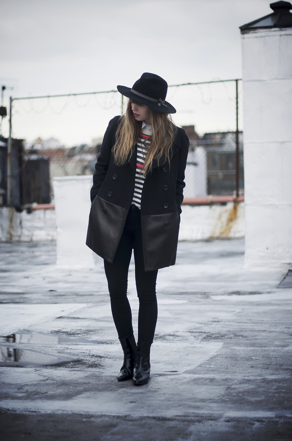just another me coat jeans sweater hat shoes blouse