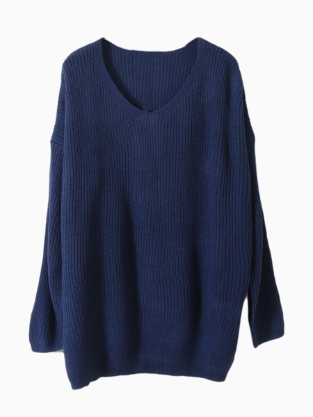 Blue V-Neck Jumper With Cape Sleeve   Choies