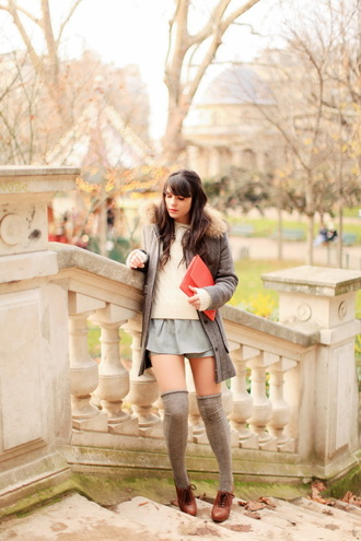 the cherry blossom girl bag coat sweater shorts shoes