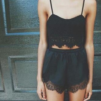 shorts shirt romper black lace dentelle cute short crop tops jumpsuit lace crop top sexy top two-piece two piece dress set silk black romper black lace top