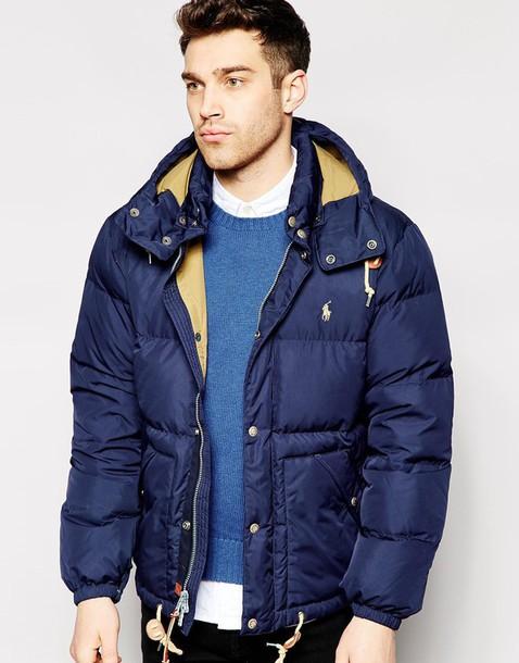 jacket ralph lauren puffer jacket blue