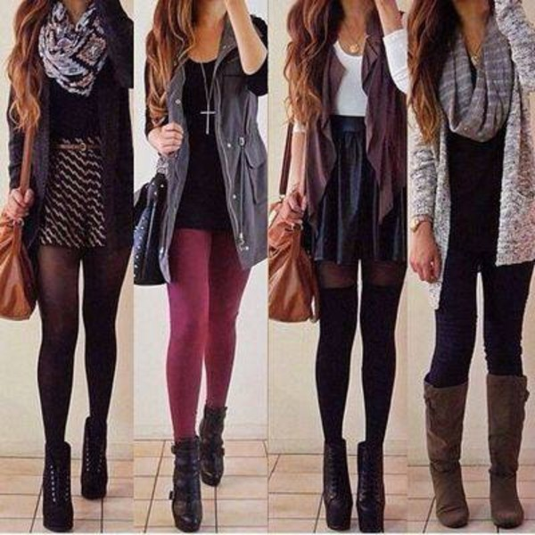 infinity scarf leather skirt fall outfits parka skirt fall boots suede shoes aztec style black high waisted skirt socks jacket blouse cute leggings sheer tights bag