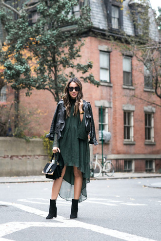 wendy's lookbook blogger dress jacket shoes bag sunglasses jewels green dress high low dress black leather jacket boots black boots winter date night outfit date outfit