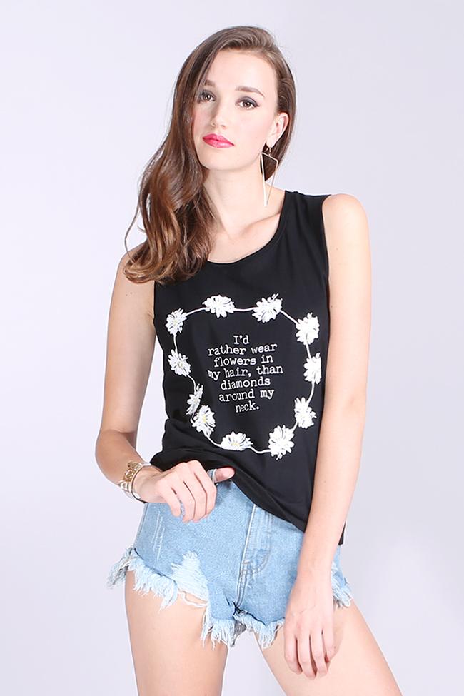 I'd Rather Wear Flowers Tank - Black | Labellavita