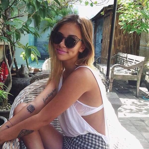 sunglasses black underwear shorts t-shirt cat eye girly