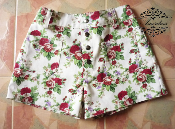 Floral High Waisted Shorts Vintage Style Floral by Amordress