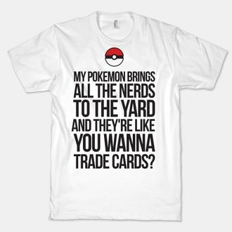t-shirt pokemon milkshake white black red pokeball top
