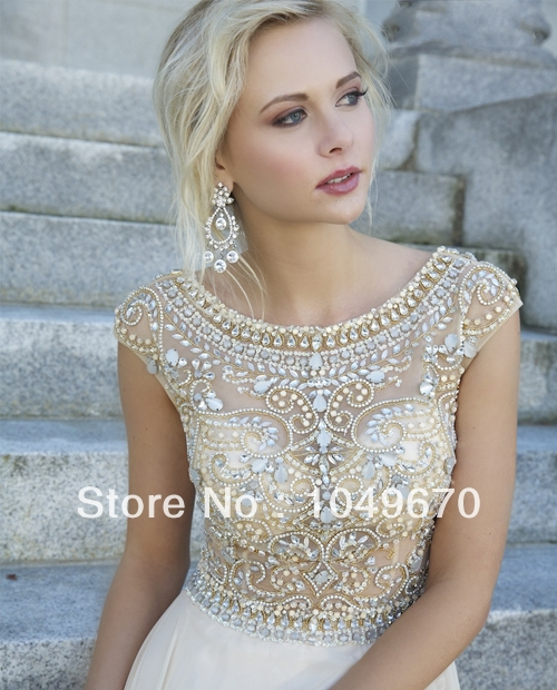 New Trend 2014 Jewel Crystal Prom Dresses With Cap Sleeves Chiffon vestidos de fiesta Floor Length V back Evening Dress N219-in Prom Dresses from Apparel & Accessories on Aliexpress.com