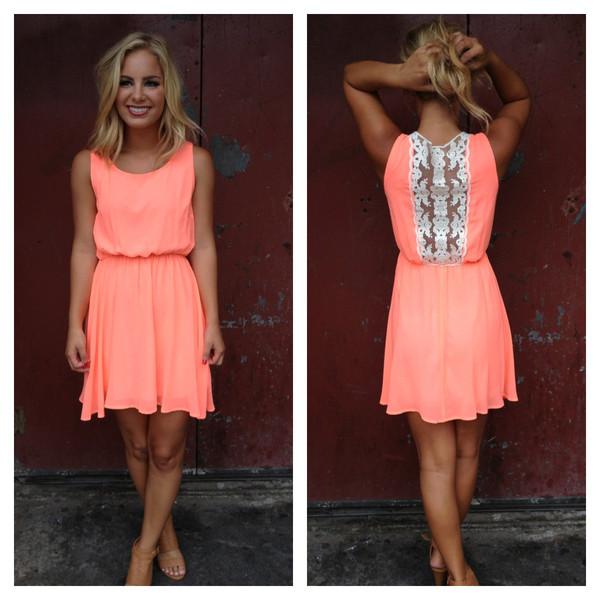 Neon Coral with Lace Back Detail Dress                           | Dainty Hooligan Boutique
