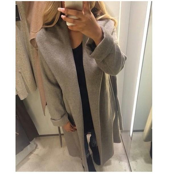 coat large coat oversized coat gray coat grey dope stylish style style trendy trendy trendy casual on point clothing blogger fashion inspo fashion inspo tumblr girl