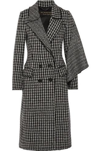 coat wool coat draped black wool houndstooth