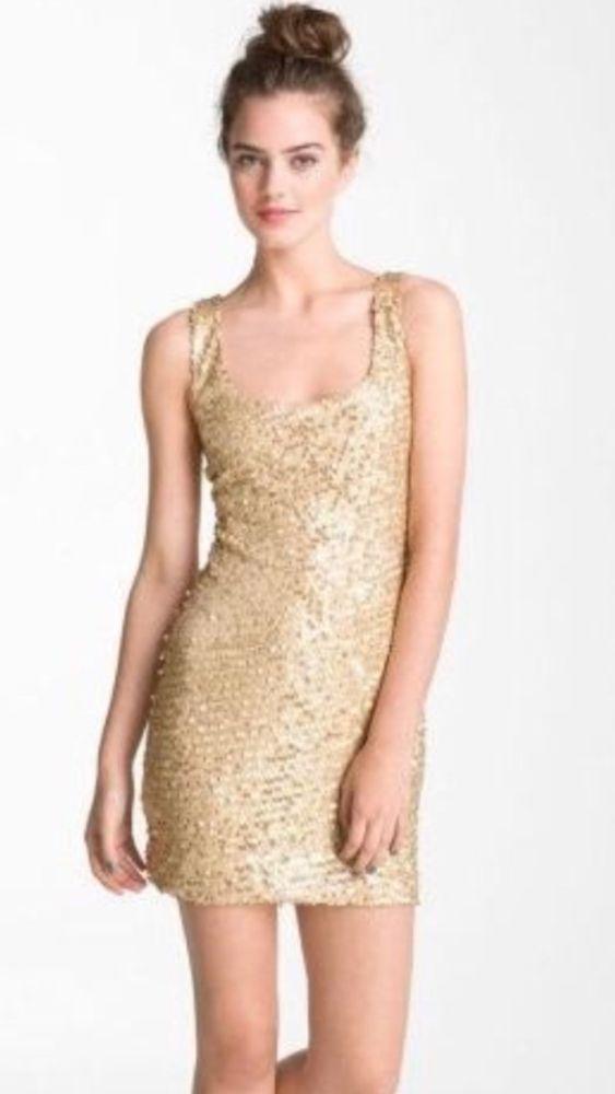 """As U Wish"" Gorgeous Gold Sequin Tank Dress Sz M | eBay"