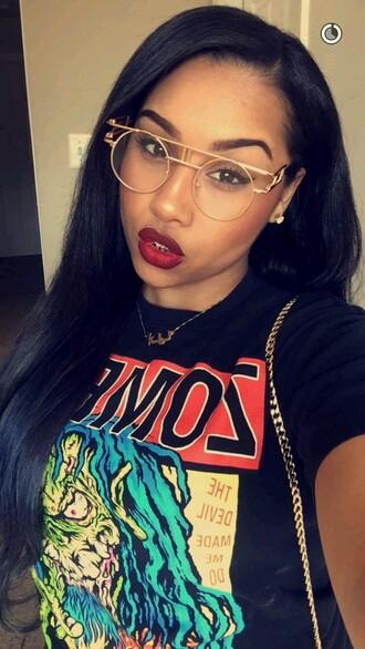sunglasses eyeglasses swag women gold glasses t shirt print black top