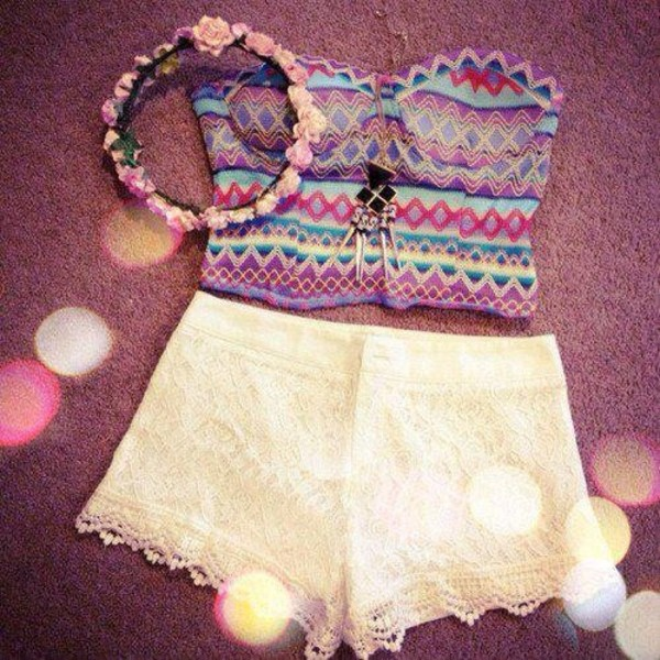 shorts cute white lace pretty white lace shorts hat tank top