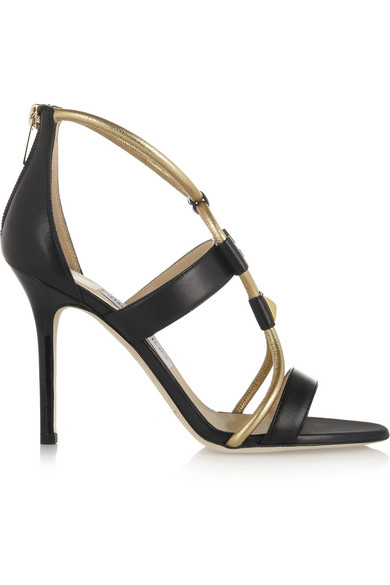 Jimmy Choo|Venus leather sandals|NET-A-PORTER.COM
