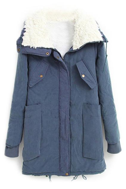 ROMWE   ROMWE Pocketed Drawstring Long Sleeves Blue Coat, The Latest Street Fashion