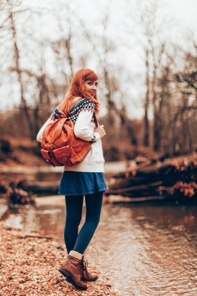 the clothes blogger red hair denim skirt knitted sweater leather backpack sweater skirt tights shoes