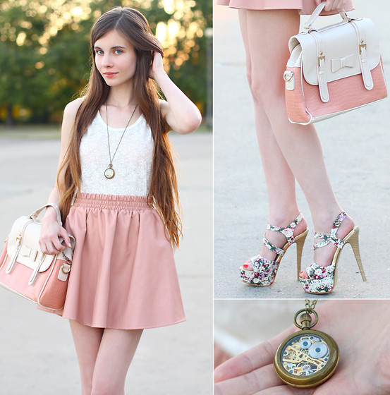 Awwdore White Lace Top, Chicwish Peach Faux Leather Skater Skirt, Mart Of China Pink Bag With Bow, Vj Style Floral High Heels Sandals, Banggood Vintage Style Bronze Mechanical Chain Pocket Watch Necklace - Peach with cream - Ariadna Majewska | LOOKBOOK