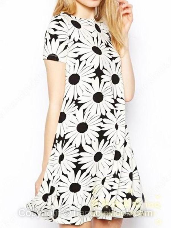 black and white sunflower dress black and white dress summer dress