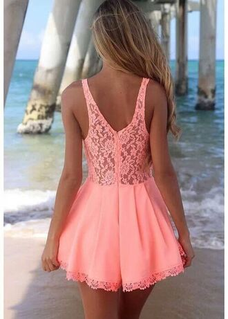 dress cute lace pink dress pink coral dress coral peach dress summer dress summer spring cut-out cute dress jumpsuit romper fashion dungaree thecarriediaries carrie