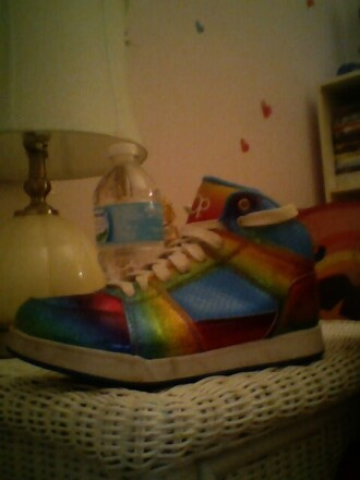 shoes rainbow print