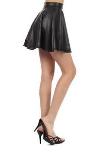 Sexy M 6 8 Flared Mini Skirt High Waist Faux Leather Skater Full Swing Pleated | eBay