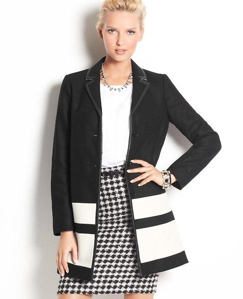 Colorblock Wool Blend Coat   Ann Taylor
