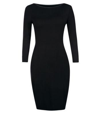 Black Leather-Look Trim Bodycon Dress