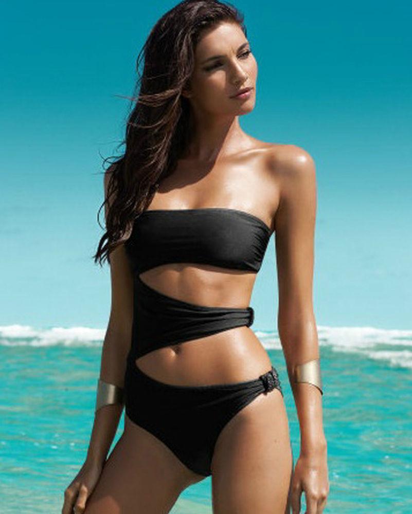 New Womens Black One Piece Cut Out Monokini Swimsuit Bikini Padded Swimwear | eBay
