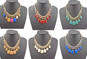 New Arrived Weave Chain Gold Plated Alloy Candy Resin Gem Square Drop Necklace   eBay
