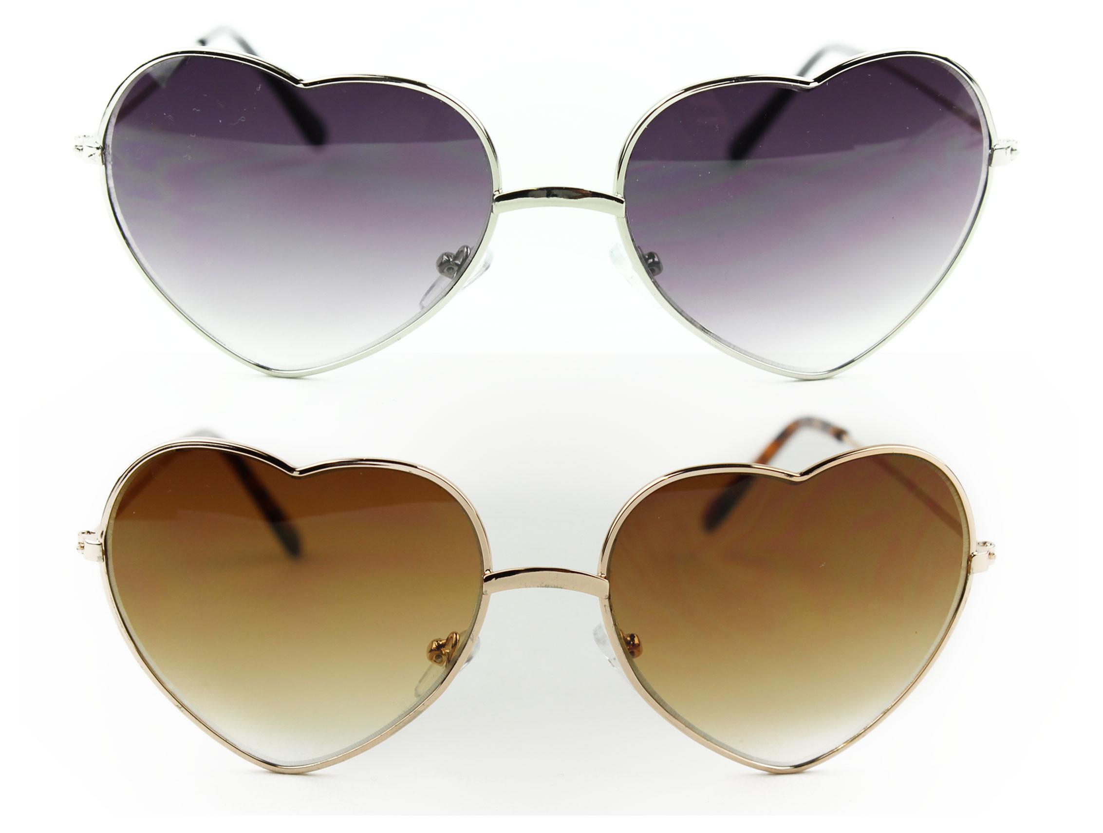 Fashion Heart Shaped Sunglasses Metal Frame Sunglasses Shades Gold and Silver   eBay