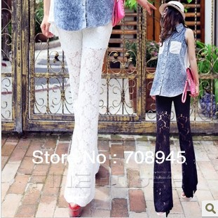 Women lace pants ladies mid waist high quality full lace flare pants casual trousers Free Shipping-in Pants & Capris from Apparel & Accessories on Aliexpress.com