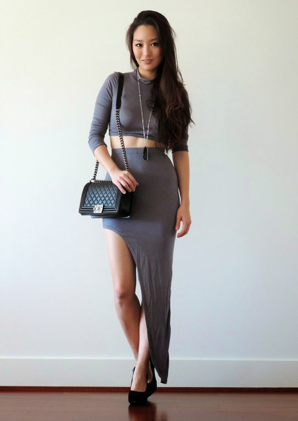 sensible stylista blogger bag two-piece grey slit skirt