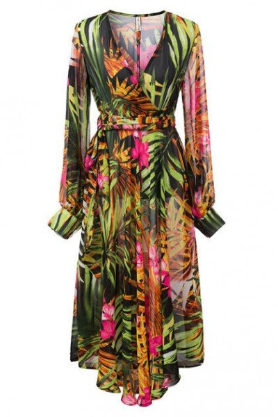 KCLOTH Leaves with Floral Printed Chiffon Maxi Dress With Ruffle Detailed Sleeves