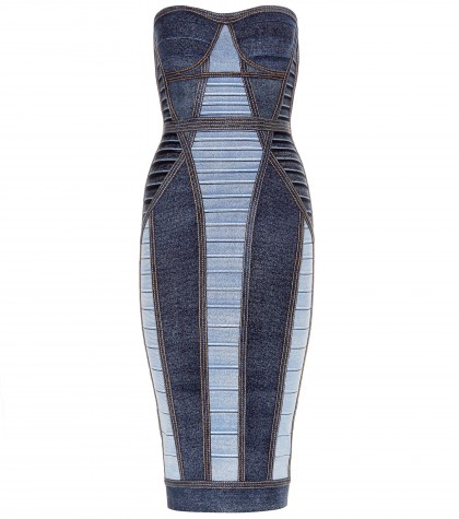 mytheresa.com -  Gwyn denim-effect bandage bandeau dress - Knee-length - Dresses - Clothing - Luxury Fashion for Women / Designer clothing, shoes, bags