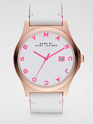Marc by Marc Jacobs - Henry Rose Gold Finished Stainless Steel Strap Watch/White Strap - Saks.com