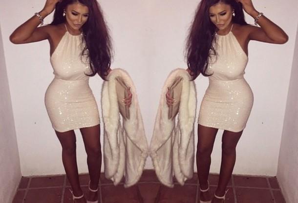 dress white dress glitter glitter dress