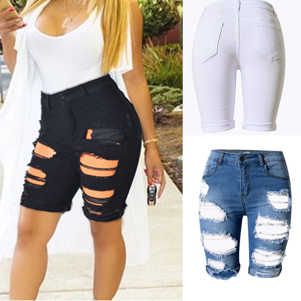 Knee Length Distressed Denim Shorts