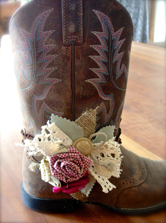 Boot Bands with Hand Made Fabric Rose Flowers by jhammerberg