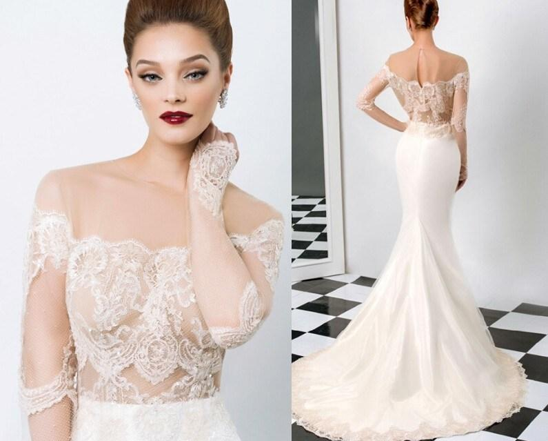 Cheap 2014 Wedding Dresses Discount Lace Sheer 2015