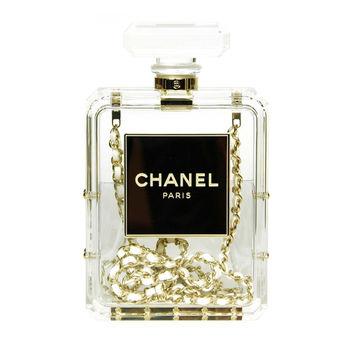 CHANEL Clear Plexiglass 'No. 5' Perfume Bottle Clutch W. Chain Strap c. 2014 on Wanelo
