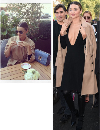 trendy style model trench coat fall outfits flawless stylish hot fashion inspo inspiration clothes celeb blogger streetstyle vs girl boots designer camel coat camel miranda kerr paris black louis vuitton autumn/winter aviator sunglasses celebrity style victoria's secret vs angel victoria's secret model australia