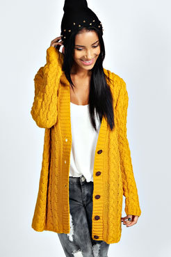 Lucy Cable Knit Cardigan at boohoo.com