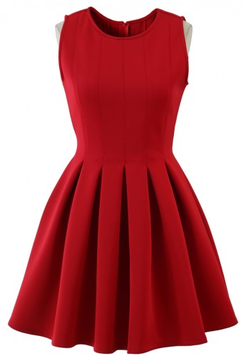Favored Sleeveless Skater Dress in Red - Retro, Indie and Unique Fashion