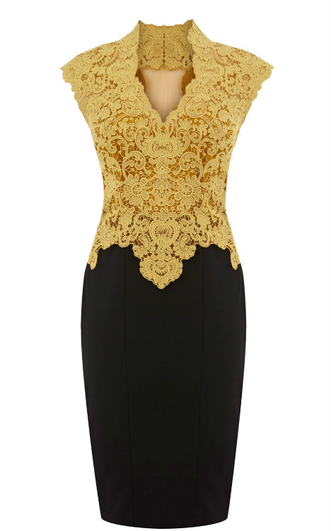 Yellow Formal Dress - Sheer Back Lace Pencil Dress | UsTrendy