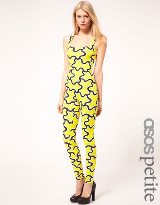 pants asos petite cut-out jumpsuit squiggle print yellow black cut out back small sexy hott bodycon