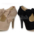 Ladies High Heel Platform Pumps Shoes Round Head Bowknot Camel/Black